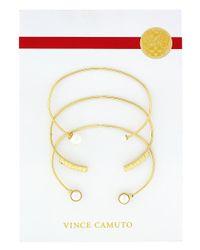 Vince Camuto | Metallic Faux Pearl And Glitz Bangle Bracelet Set | Lyst
