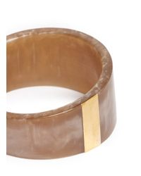 Isabel Marant - Brown Brass Panel Pearlescent Resin Bangle - Lyst