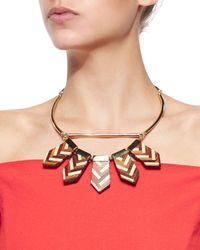 Lela Rose - Orange Mixed Chevron Wooden Choker Necklace - Lyst