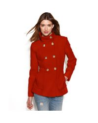 Jessica Simpson | Red Double-breasted Boucle Peacoat | Lyst