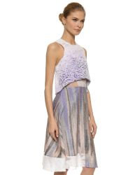 Prabal Gurung - Blue Mixed Fabric Dress With Cropped Overlay - Midnight Purple - Lyst