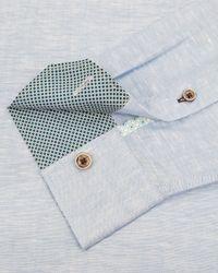 Ted Baker - Blue Farewel Classic Linen Blend Shirt for Men - Lyst