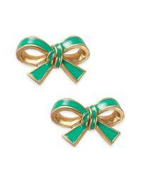 kate spade new york - Metallic New York Goldtone Green Bow Stud Earrings - Lyst