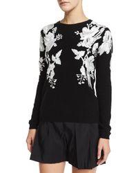 Naeem Khan - Black Rose-embroidered Cashmere Sweater - Lyst