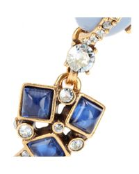Oscar de la Renta - Blue Embellished Clip-on Earrings - Lyst