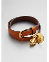 Alexander McQueen | Brown Leather Skull Wrap Bracelet | Lyst
