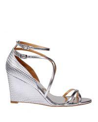 Badgley Mischka | Metallic Melaney Leather Wedge Sandal | Lyst