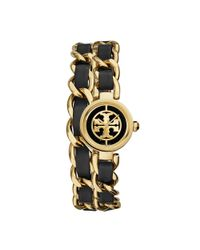 Tory Burch - Metallic Reva Mini Chain Double-wrap Watch, Black Leather/gold-tone, 20.5 Mm - Lyst