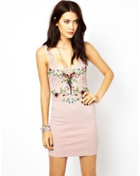 Free People - Pink Embellished Bodycon Dress - Lyst