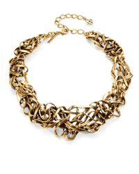 Oscar de la Renta | Metallic Ribbon Statement Necklace | Lyst