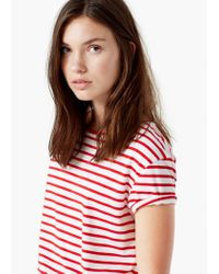 Mango | Red Striped Cotton T-shirt | Lyst
