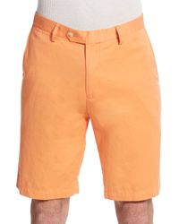 Saks Fifth Avenue | Orange Pima Cotton & Linen Shorts for Men | Lyst