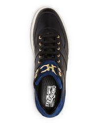Ferragamo - Black Monroe Double Gancini Sneakers for Men - Lyst