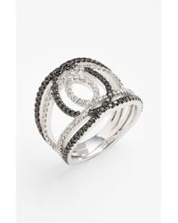 Bony Levy | Black 'double Interlock' Diamond Cocktail Ring | Lyst