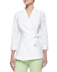 Lafayette 148 New York - White Jillian Wrap Blouse W/ Side-tie - Lyst