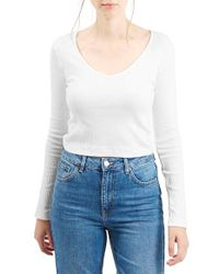 TOPSHOP - White V-neck Crop Sweater - Lyst
