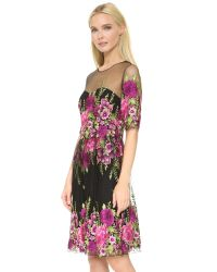 Notte by Marchesa - Black Embroidered Tulle Cocktail Dress - Lyst