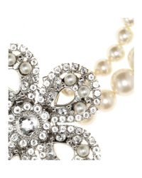 Miu Miu - Natural Pearl Necklace with Crystalembellished Flower - Lyst