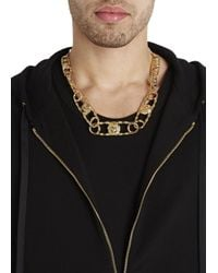 Versus | Metallic Lion Safety Pin Gold Tone Necklace for Men | Lyst