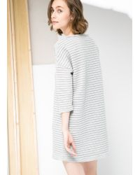 Mango - Gray Stripe Textured Dress - Lyst