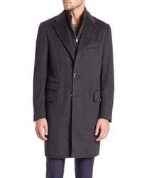 Corneliani - Gray Id Wool Topcoat for Men - Lyst