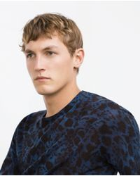 Zara | Blue Printed Sweater for Men | Lyst