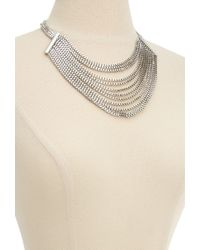 Forever 21 - Metallic Layered Box Chain Bib Necklace - Lyst