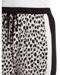 DKNY - Black Drawstring Striped Side Cropped Pants - Lyst