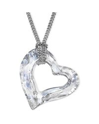 Swarovski | Metallic Rhodiumplated Crystal Loveheart Pendant | Lyst