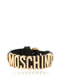 Moschino | Metallic Grained Leather Bracelet for Men | Lyst