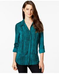 Calvin Klein Jeans | Blue Snakeskin-print Frayed Shirt | Lyst