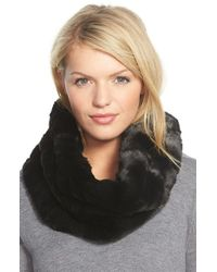 Badgley Mischka | Black Faux Fur Infinity Scarf | Lyst