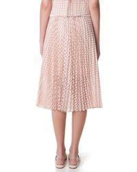 Tibi | Pink Windowpane Jacquard Sunray Pleated Skirt | Lyst