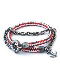 Anchor & Crew - Red Dash Barmouth Rope Bracelet for Men - Lyst