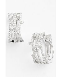 Bony Levy | Metallic 'solstice' Crossover Diamond Hoop Earrings | Lyst