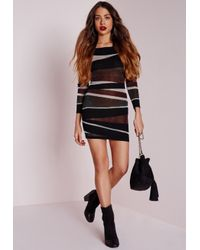 Missguided - Slashed Off Shoulder Mini Dress Black - Lyst