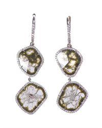 Susan Foster - Metallic Diamond Whitegold Earrings - Lyst