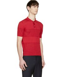Moncler Gamme Bleu - Red Knit Stripe Polo for Men - Lyst