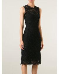 Dolce & Gabbana | Black Floral Lace Dress | Lyst