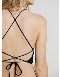 Free People - Black Lace Up Brami - Lyst