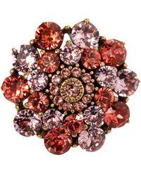 Oscar de la Renta - Red Hibiscus Jewelled Ring - Lyst