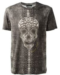 Alexander McQueen   Black Snake Skin Print Skull T-shirt for Men   Lyst