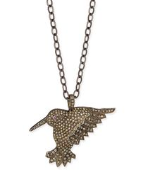 Siena Jewelry - Metallic Diamond Hummingbird Pendant Necklace - Lyst