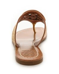 Tory Burch - Metallic Louisa Thong Sandals Goldnew Tan - Lyst