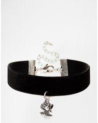 ASOS | Black Halloween Rose Charm Choker Necklace | Lyst
