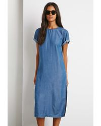 Forever 21 - Blue Chambray Side-slit Dress - Lyst