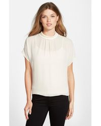 Vince Camuto - White Mock Neck Blouse - Lyst
