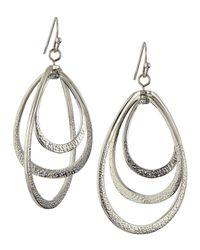 R.j. Graziano - Metallic Triple Tiered Orbital Teardrop Earrings - Lyst