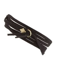 Armenta - Metallic Leather Tie Bracelet With Gold - Lyst