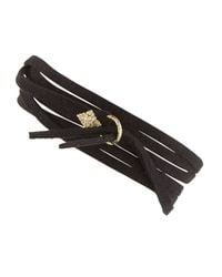Armenta | Metallic Leather Tie Bracelet With Gold | Lyst